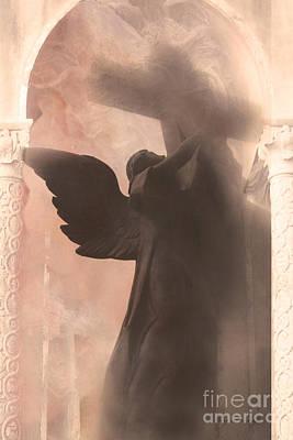 Dreamy Spiritual Ethereal Angel On Cross Poster