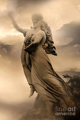 Dreamy Surreal Guardian Angels Ascent To Heaven Poster by Kathy Fornal