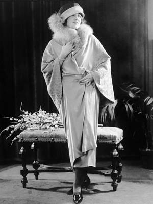 Dress Of Platinum Crepe With Fox Fur Poster by Everett
