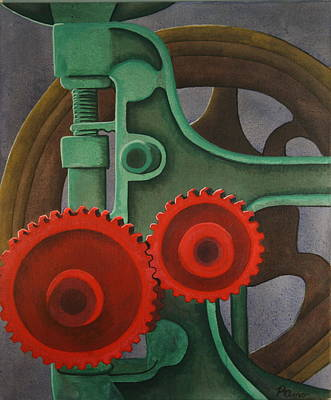 Poster featuring the painting Drill Gears by Paul Amaranto