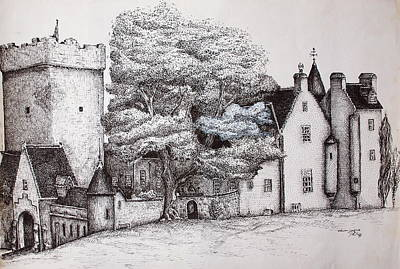 Poster featuring the drawing Drum Castle by Sheep McTavish