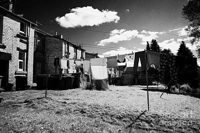 Drying Washing On A Washing Line At The Rear Of Tenement Buildings In Kilmarnock Scotland Poster