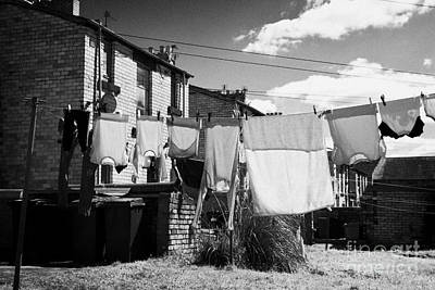 Drying Washing On A Washing Line At The Rear Of Tenement Buildings In Kilmarnock Scotland Uk United  Poster