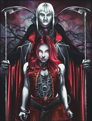 Dual Vampires Poster by Rick Ritchie