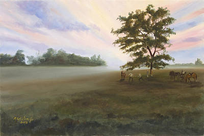 Poster featuring the painting Duel At Dawn by Karen Wilson