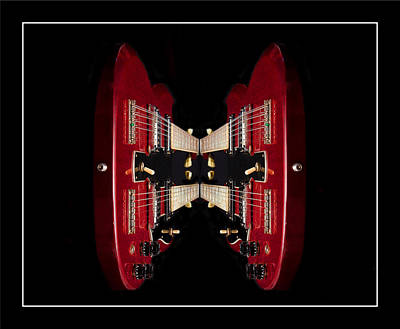 Duo-neck Red Guitar Poster by Trudy Wilkerson