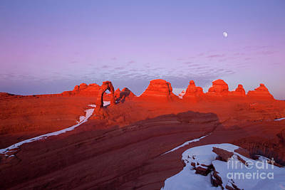 Dusk At Delicate Arch Poster by Keith Kapple