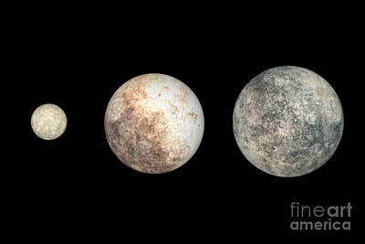 Dwarf Planets Ceres, Pluto, And Eris Poster by Walter Myers