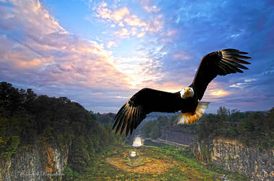 Poster featuring the photograph Eagle At Paint Creek Dam by Randall Branham