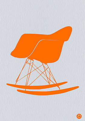 Eames Rocking Chair Orange Poster by Naxart Studio