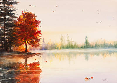 Early Autumn Reflections Watercolor Painting Poster