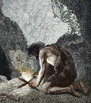 Early Human Making Fire Poster