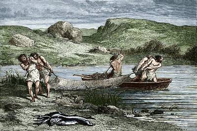 Early Humans Fishing Poster by Sheila Terry