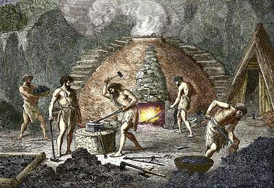Early Humans Smelting Iron Poster