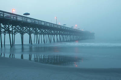 Early Morning Fog At Garden City Pier Poster by Sandi Blood
