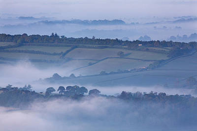 Early Morning Mist On Hills In South Poster