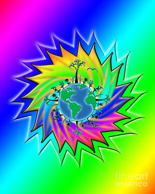 Earth Day Sunburst Transparent Poster by Linda Seacord