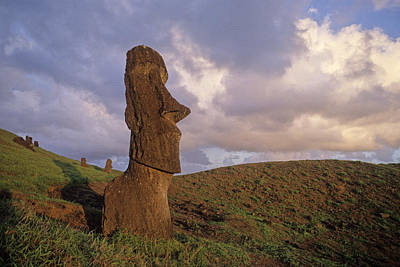 Easter Island Statues At Sunset Poster by Cliff Wassmann