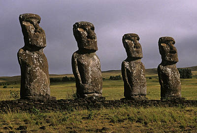 Easter Island Statues Poster by Cliff Wassmann