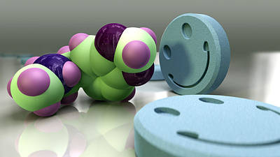 Ecstasy Drug Molecule And Tablets Poster