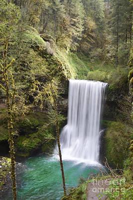 Oregon Waterfall Forest Landscape Poster by Andrea Hazel Ihlefeld
