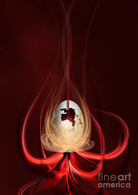 Poster featuring the digital art Egg With Red Flow by Johnny Hildingsson