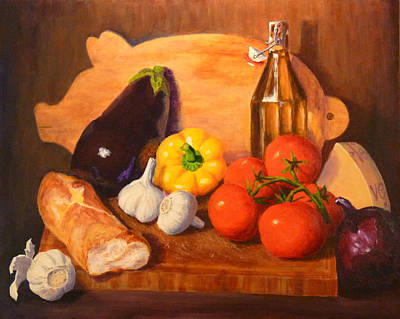 Poster featuring the painting Eggplant Parmigiana by Joe Bergholm