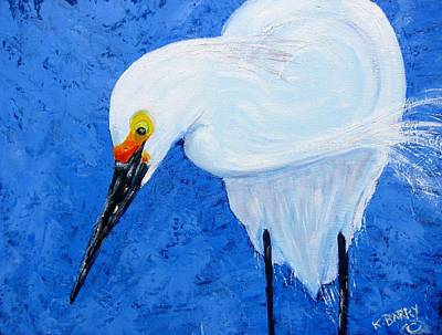 Egret Hunting Poster by Kathryn Barry
