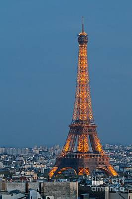 Poster featuring the photograph Eiffel Tower At Dusk by Kim Wilson
