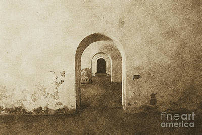 El Morro Fort Barracks Arched Doorways San Juan Puerto Rico Prints Vintage Poster by Shawn O'Brien