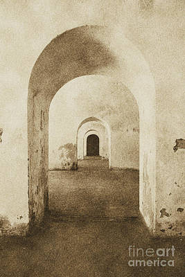 El Morro Fort Barracks Arched Doorways Vertical San Juan Puerto Rico Prints Vintage Poster by Shawn O'Brien