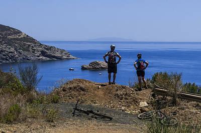 Poster featuring the photograph Elba Island - Mtb Bikers Looking The Far Away Island - Ph Enrico Pelos by Enrico Pelos