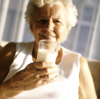Elderly Woman Drinking Milk Poster by Cristina Pedrazzini
