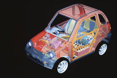 Electric Car, Artwork Poster by Volker Steger