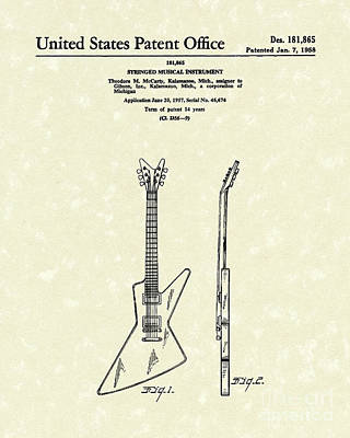 Electric Guitar Mccarty Gibson I Patent Art  Poster by Prior Art Design