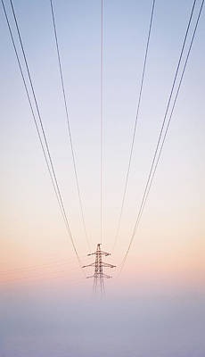 Electricity Power Pylon In Mist Poster by Terry Donnelly ARPS