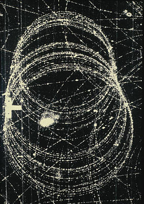 Electron And Positron Spiralling Tracks Poster