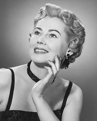Elegant Woman Posing In Studio, (b&w), Portrait Poster