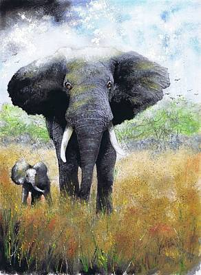 Elephant And Baby Poster