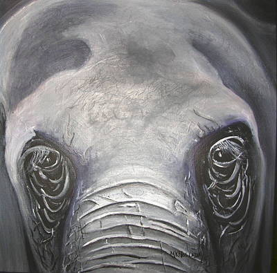 Poster featuring the painting Elephant Eyes by Mary Kay Holladay
