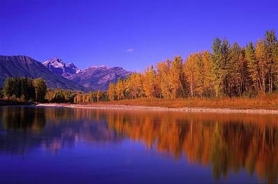 Elk River In Autumn With Three Sisters Poster