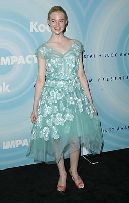 Elle Fanning Wearing A Dress By Marc Poster by Everett