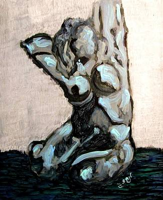 Emerald Green And Blue Expressionist Nude Female Figure Painting Filled With Emotion And Movement Poster by MendyZ M Zimmerman
