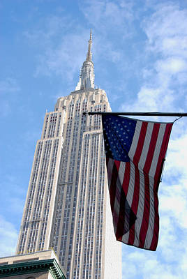Empire State And American Flag Poster by Kelsey Horne