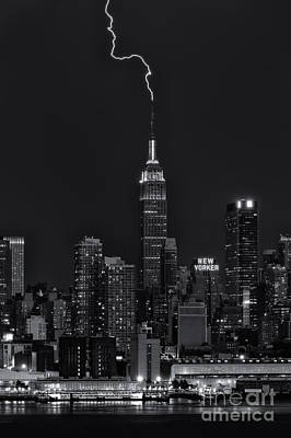 Empire State Building Lightning Strike II Poster by Clarence Holmes