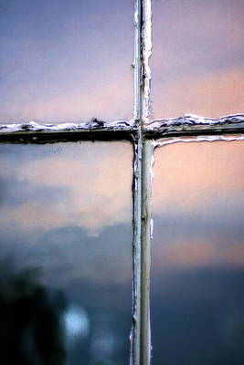 Empty Cross On The Window Of An Old Church Poster