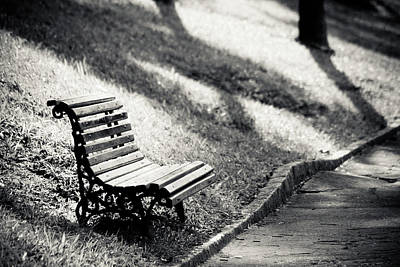 Empty Park Bench On Edge Poster