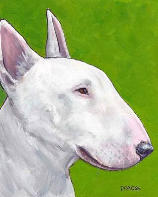 English Bull Terrier Profile On Green Poster by Dottie Dracos