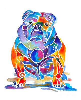 English Bulldog Whimsical Colors Poster by Jo Lynch