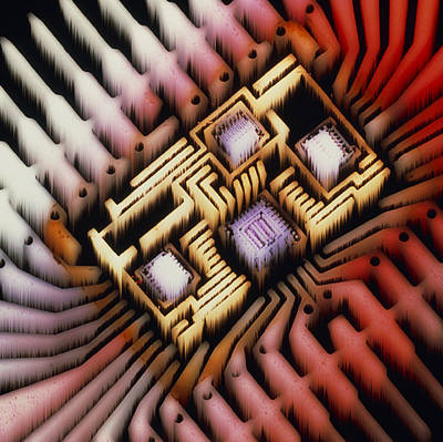 Enhanced Macrophoto Of A Hybrid Integrated Circuit Poster by Pasieka